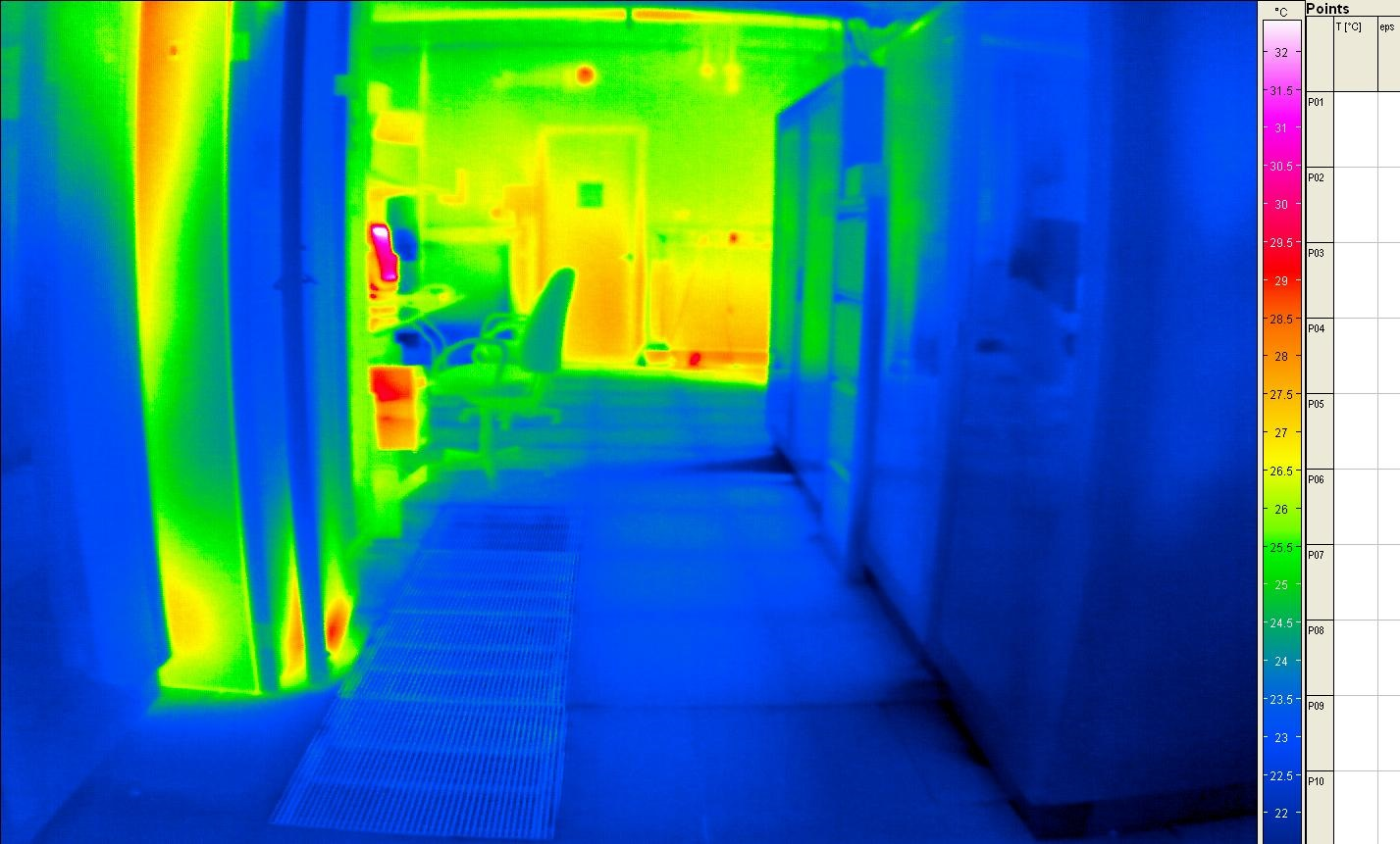Thermal image of Southampton computer room