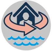 Logo for Protecting people and property from natural disasters like coastal flooding and extreme weather