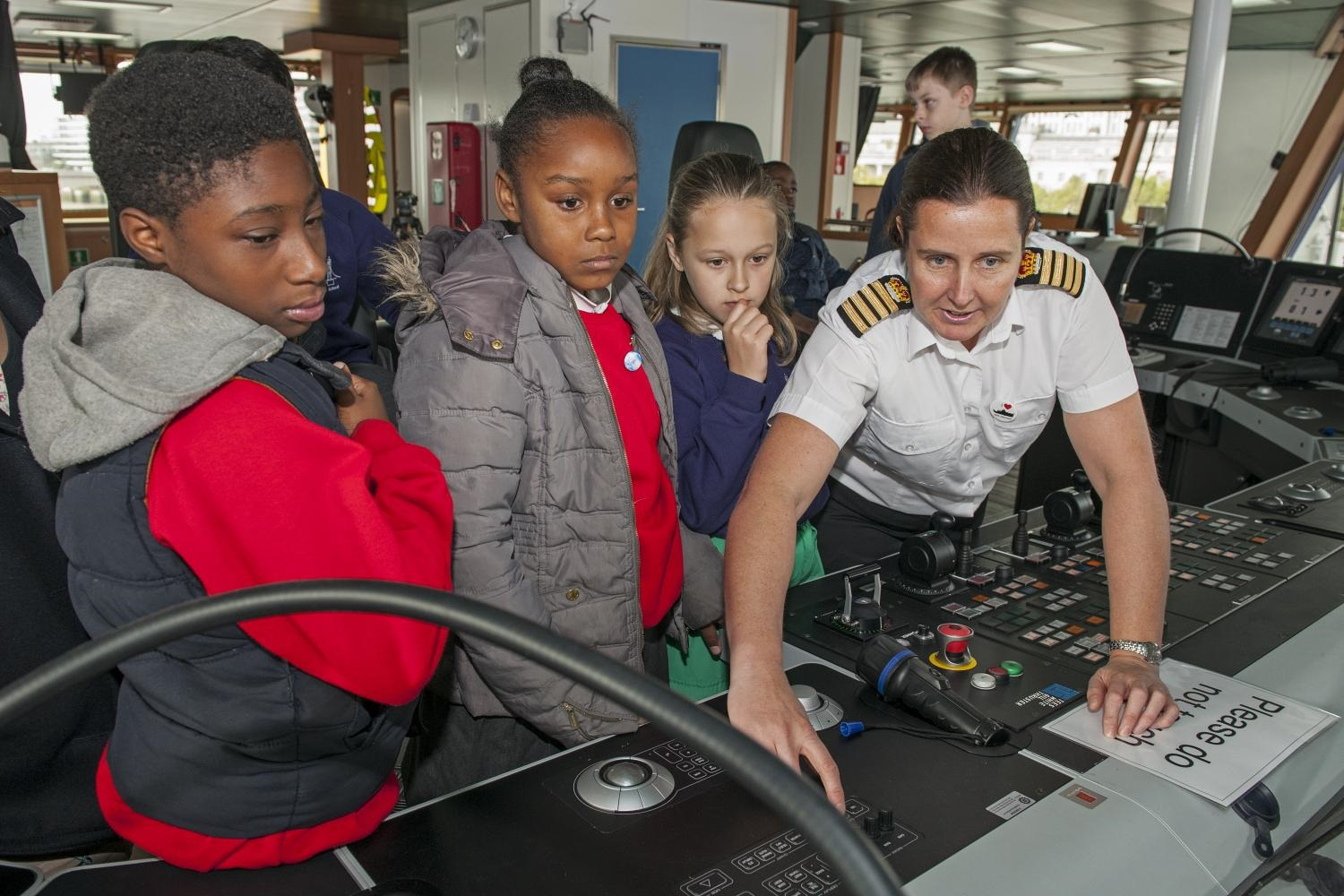 Local school children touring the RRS Discovery