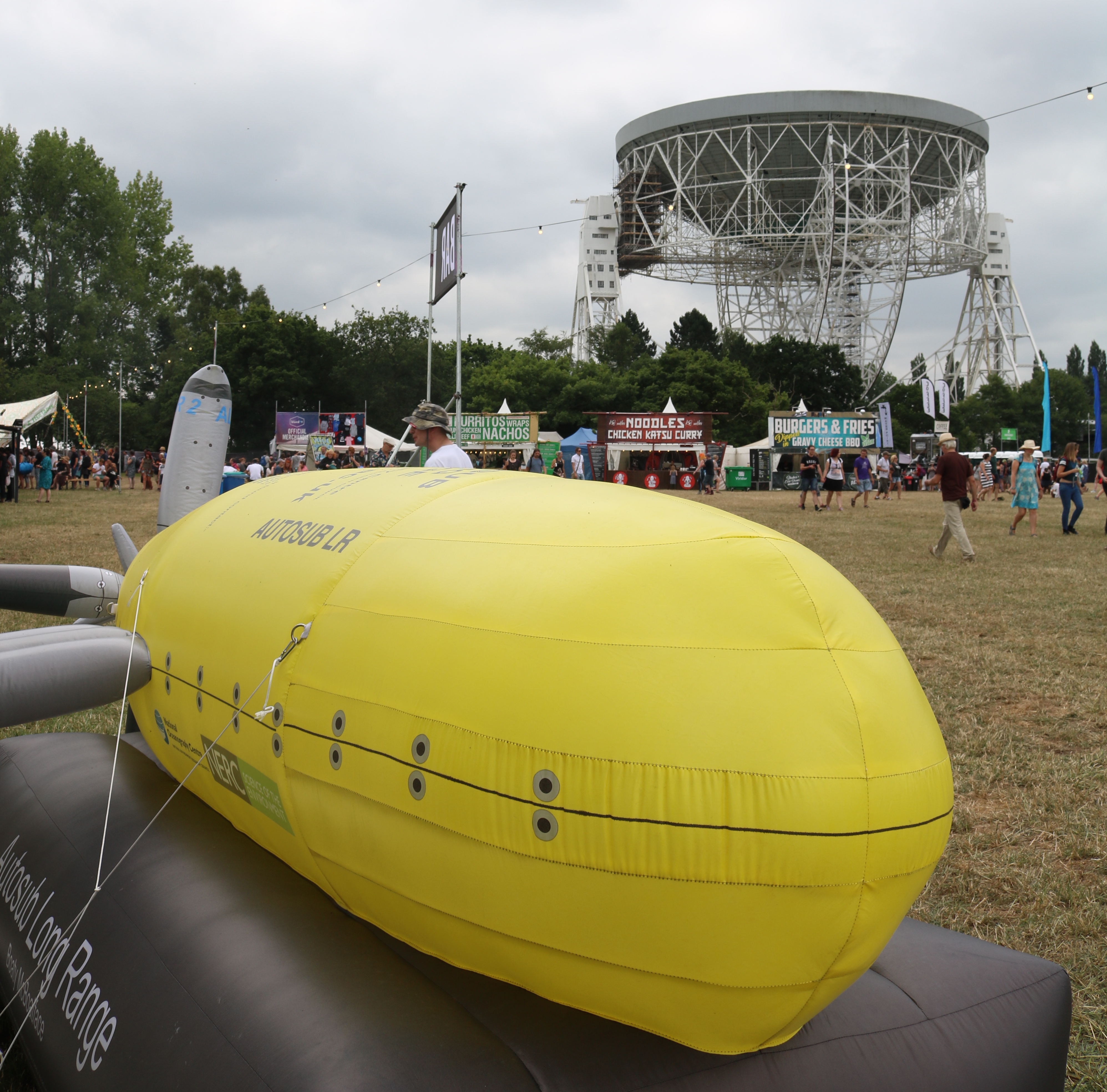 Inflatable model of Autosub Long Range at Bluedot 2018