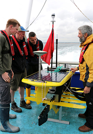 Final preparation of the GNSS-Wave Glider on board the RV Princess Royal before deployment in the North Sea