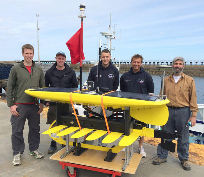 The GNSS-Wave Glider deployment, piloting and recovery team (L to R): Ian Martin, Nigel Penna, Liam Rogerson, Neil Armstrong and Miguel Maqueda