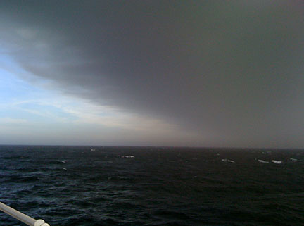 Volcanic ash cloud over the ocean as seen from RRS Discovery (image: Dr Frédéric Le Moigne)