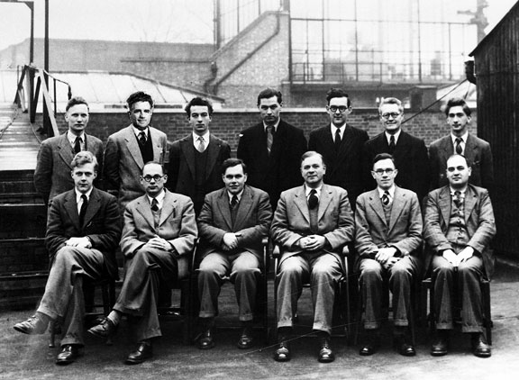Group W scientists ca 1950, Sir George Deacon FRS 3rd from right, front row