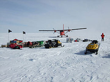 Twin Otter aircraft delivering field camp equipment