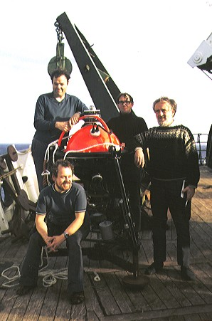 The first NIO tide gauge team and Mk1 instrument: David Cartwright, Peter Collar, Pat Gwilliam and Bob Spencer