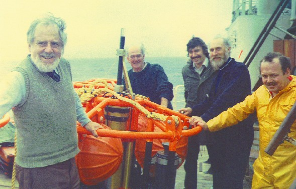 Mk4 tide gauge recovery team: David Cartwright, Ken Parry, Ian Vassie, Bev Hughes, Bob Spencer July 1981