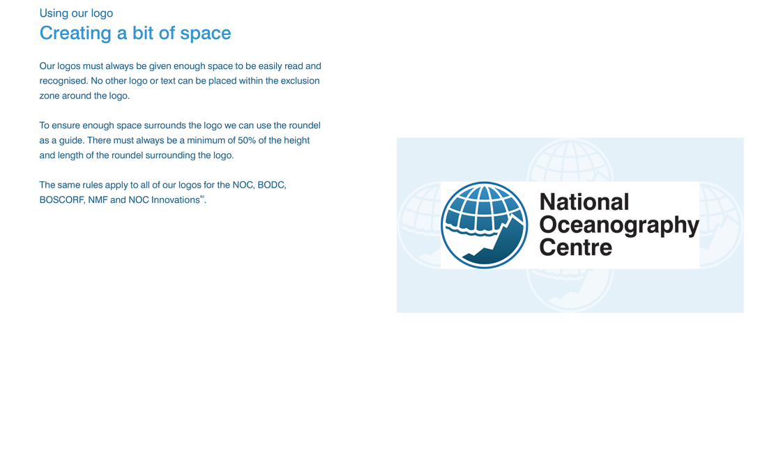 Image of a page age describing how much space needs to be around the logo