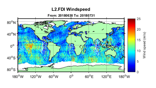 "July 2018 Global Wind Speed Map from <a href=""http://www.merrbys.co.uk"" target=""_blank"">www.merrbys.co.uk</a> the dominance of settled conditions around the UK is reflected in low wind speed values for July (blue colours), whereas parts of the Southern and Pacific Oceans showed much higher values.