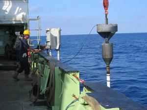 Extracting a core from the seabed. Credit Russell Wynn.