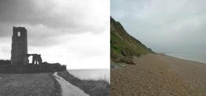 All Saints Church, Dunwich – before and after 100 years of coastal erosion