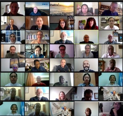 40 out of the 63 different faces in an IOC GoE video call grid (Alan is in the first column on the second row)