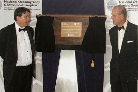 Unveiling a new name, Professor Ed Hill and HRH the Duke of Edinburgh.