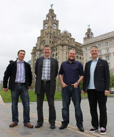 L-R: Marlan's Managing Director Alex Sinclair, the NOC's Head of Ocean Technology & Engineering Dr Paul Bell, Marlan's KTP Associate (now Director of Research) Dr Cai Bird and the University of Liverpool's Head of Geography and Planning Professor Andrew Plater