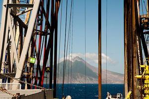 Monserrat volcano as seen from the JR research ship (credit: Adam Stilton, volcanologist)