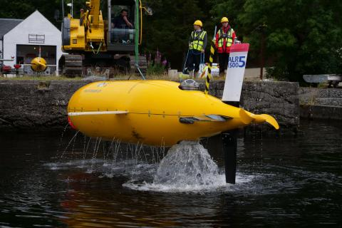 Ocean robot ALR1500 being raised from Loch Ness after a commissioning trial