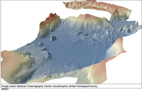 3D render of bathymetry of the Anak Krakatau megablocks facing NE at the landslide