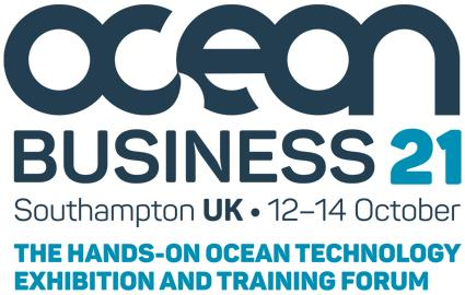 "Ocean Business 2021 logo ""The hands on ocean technology exhibition and training forum"""