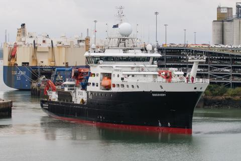 RRS Discovery returning to her home port of Southampton