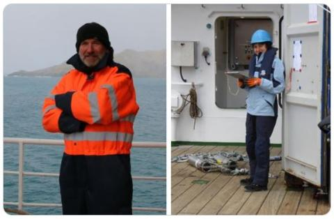 Award winners Richard Lampitt and Marilena Oltmanns pictured working at sea