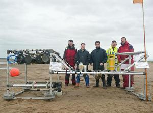 The SEDbed frame with members of the deployment team (from left: Terry Doyle, Ben Moate, Richard Cooke, Danny McLaughlin, Emlyn Jones)