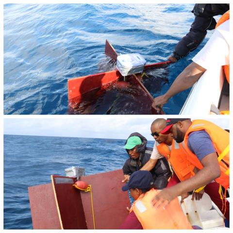 Top: Testing the drifter buoyancy ahead of release. Bottom: IMS and Pemba Fisheries personnel deploy the first of the drifters