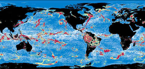 The ocean and atmosphere circulations shown in this example are simulated by an advanced computer model developed jointly by scientists at the UK Met Office and the National Oceanography Centre.