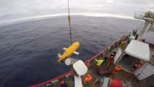 Autosub Long Range being deployed from the RRS James Clark Ross