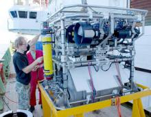 HyBIS Robotic Underwater Vehicle being prepared for a dive by its inventor, Dr Bramley Murton
