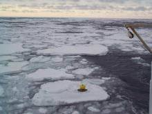 An ice drifter being deployed in the Greenland Sea, March 2000