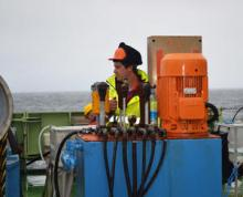 Ben Poole operates the double barrel capston to aid recovery of the sediment traps