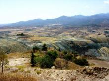 Mine dumps at the Skouriotissa Copper Mine looking towards the Troodos Mountains, Cyprus (photo: Dave Craw)