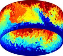 One of the 44 idealised simulations of the Southern Ocean using Q-GCM, showing the potential vorticity at the ocean surface