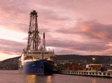 The scientific drilling ship JOIDES Resolution docked in Hobart, Tasmania (photo: John Beck, IODP)