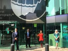 Kevin Horsburgh, Ed Hill, Angela Hibbert and Amanda Solloway outside the NOC in Liverpool