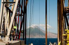 Monserrat volcano as seen from the JR research ship (credit: Adam Stilton, volcanologist)