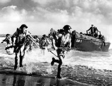 Allied troops landing on the beaches