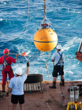 Deploying a new replacement mooring – scientists will extract the data when it is recovered later (courtesy of Ben Moat)