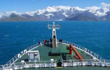 The ANDREX team approach the subantarctic island of South Georgia onboard the RRS James Cook