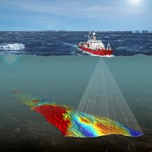 Seabed mapping data collected by research ships during decades of collaborative research in Antarctica can be compiled to help create large-scale maps of the seabed physical environment around South Georgia. Image from the British Antarctic Survey.