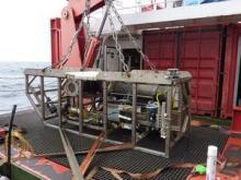 SHRIMP (Seabed High Resolution IMaging Platform) is towed near the seafloor and the video fed back to the control van aboard the ship