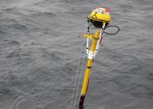 NOC's Spar Buoy being deployed off the coast of Newfoundland (courtesy: Ian Brooks)