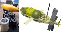Left: Lab-On-Chip chemical sensors (foreground) with Autonomous Underwater Vehicle (submarine) Autosub Long Range behind. Right: CAD model showing Autosub Long Range with seven Lab-On-Chip nutrient sensors in the nose and four Lab-On-Chip and one electrochemical sensor for the ocean carbonate (CO2) system at the stern.
