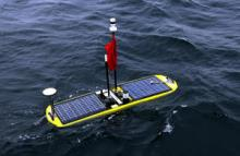 The GNSS-Wave Glider, a robotic vessel that can travel up to speeds of 2 knots using solar power and the motion of the waves
