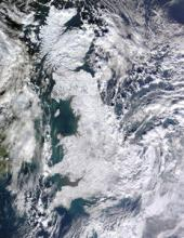 Widespread snowfall over UK in December 2010 (credit NASA / Jeff Schmaltz)