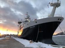 RRS <em>James Cook</em> at a snowy mooring in Halifax, Nova Scotia.