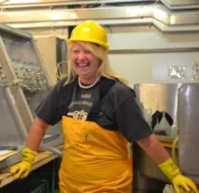 Dr Denise Smythe-Wright in her famous yellow gear sets to work on CTD samples