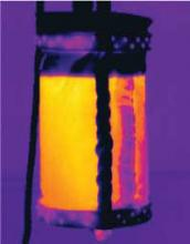 Infrared picture of the canvas bucket filled with warm water