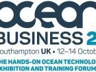 """Ocean Business 2021 logo """"The hands on ocean technology exhibition and training forum"""""""